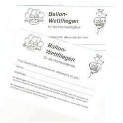 Ballon-Wettflugkarten Hochzeit mit Adress-Eindruck
